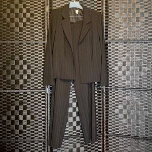 Lady's Pant Suit, Black with Teal Pinstripes